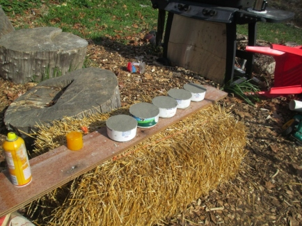 Making more water crocks for our rabbits using homemade molds- using sour cream containers, little .97 cent kitty bowls, and mortar
